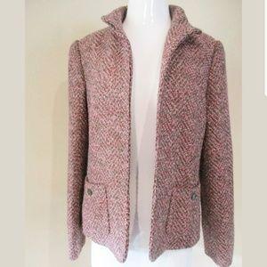Nina McClemore gray/pink wool tweed blazer size 10
